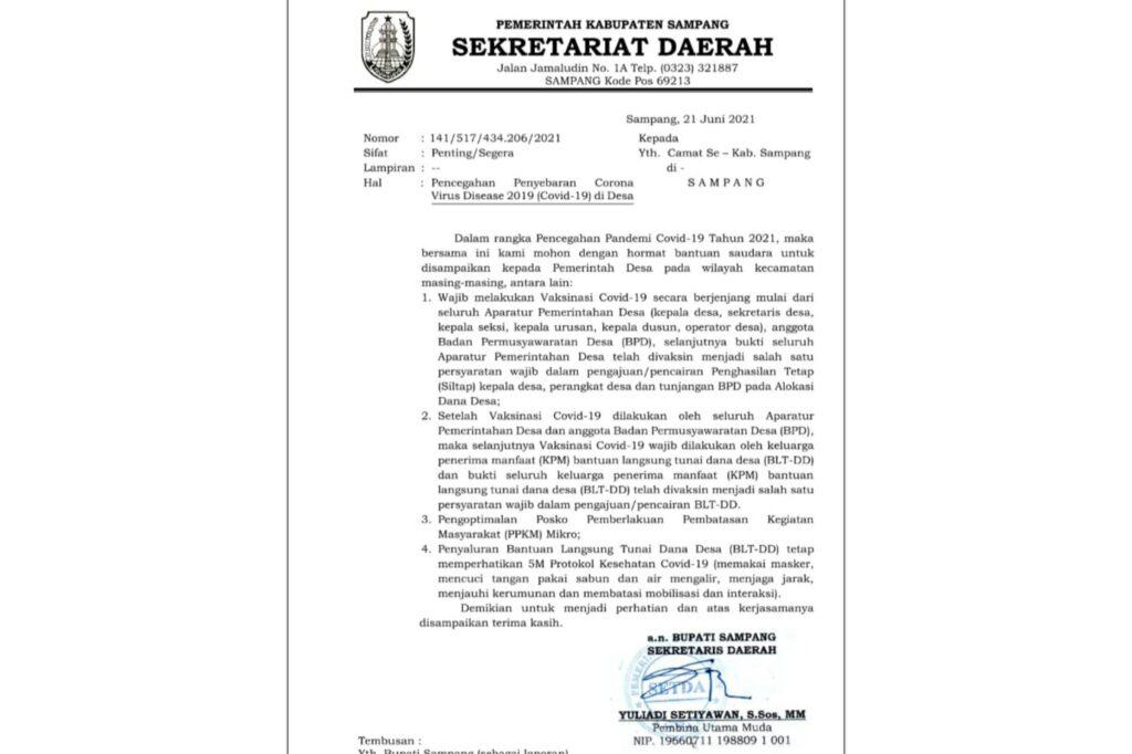 SE Sekretariat Daerah Dalam Pencegahan Penyebaran Covid-19 di Desa